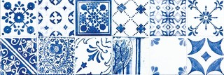 WARVE146 Majolika modrá obkládačka dekor 19,8x59,8x1