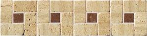 SDMJ9009 Travertin slonová kost kamenná mozaika 30x7,5x0,9